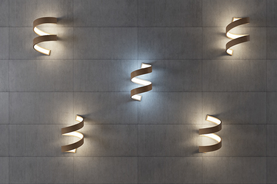 Picture Of sculptural spiral lamp collection made of veneer  5
