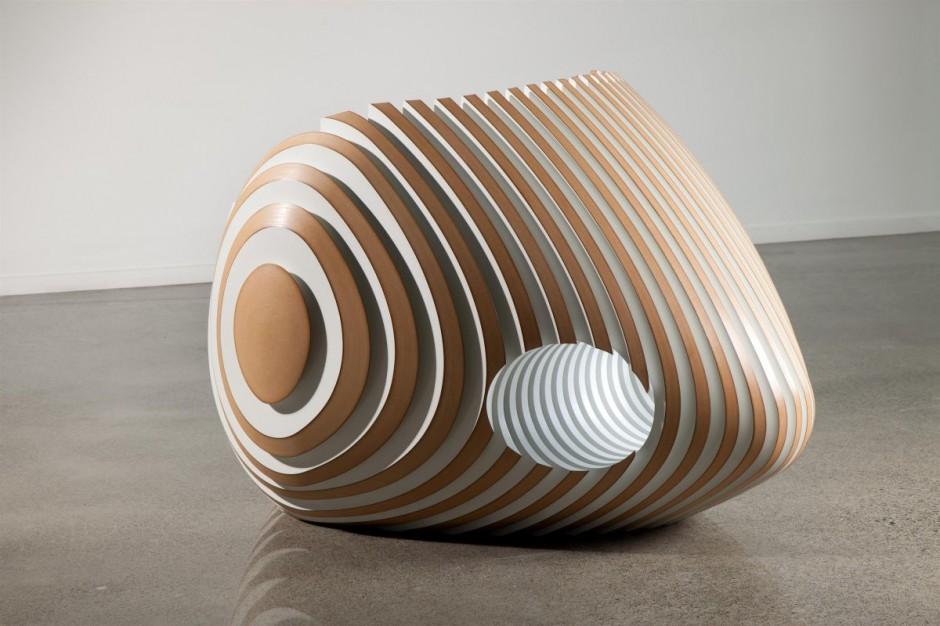 Sculptural Wooden Beehive Chair