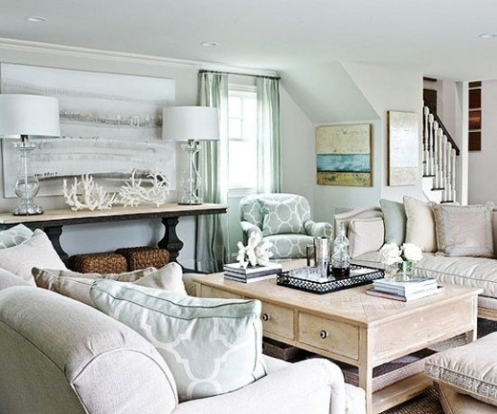 37 sea and beach inspired living rooms digsdigs for Coastal living rooms ideas