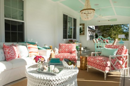 Sea Inspired Summer Terrace Decor In Coral And Aqua DigsDigs