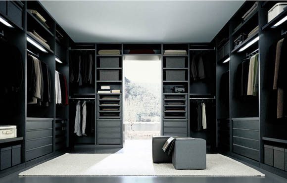 senzafine extremely flexible walk in closet system by poliform digsdigs. Black Bedroom Furniture Sets. Home Design Ideas