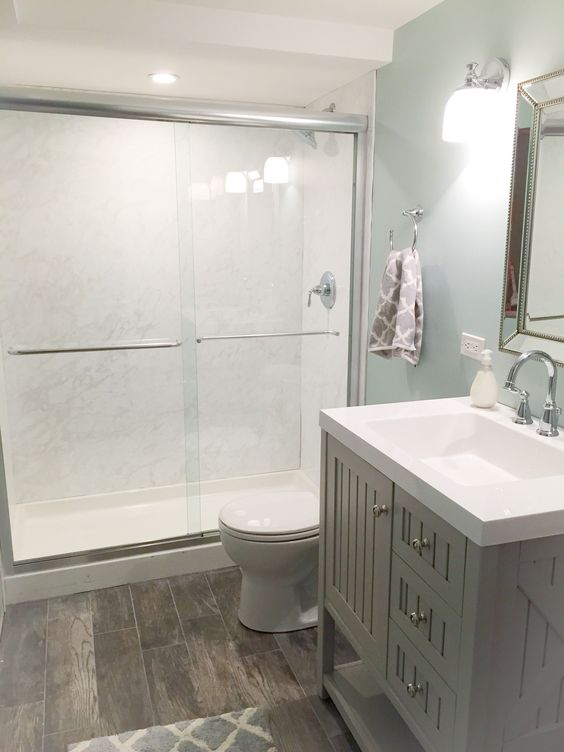 serene neutral basement bathroom