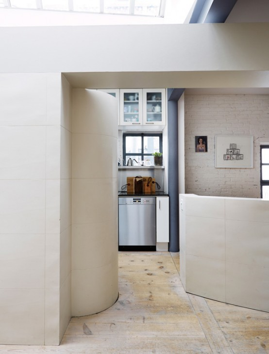 Serene Scandinavian Loft With White Brick Walls And Huge Windows