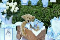 serenity-colored boy baby shower