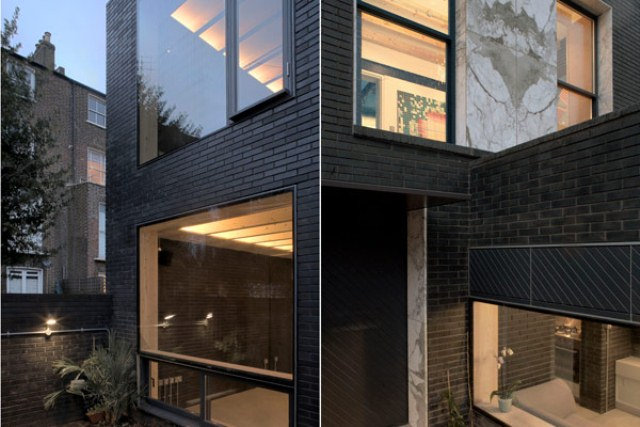 Shadow house of black brick with industrial decor digsdigs Black brick homes