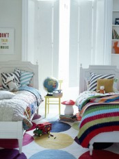 Shared Kids Bedroom In Stripes And Dots