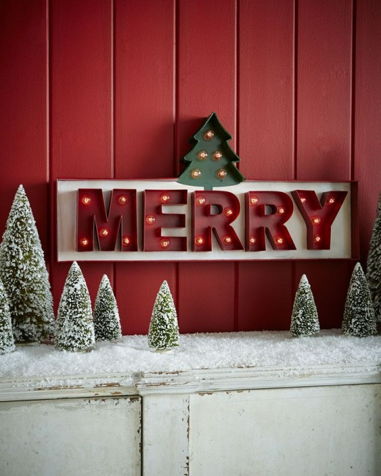 Christmas Sign Decorations: 32 Shining Marquee Signs Ideas For Christmas Décor