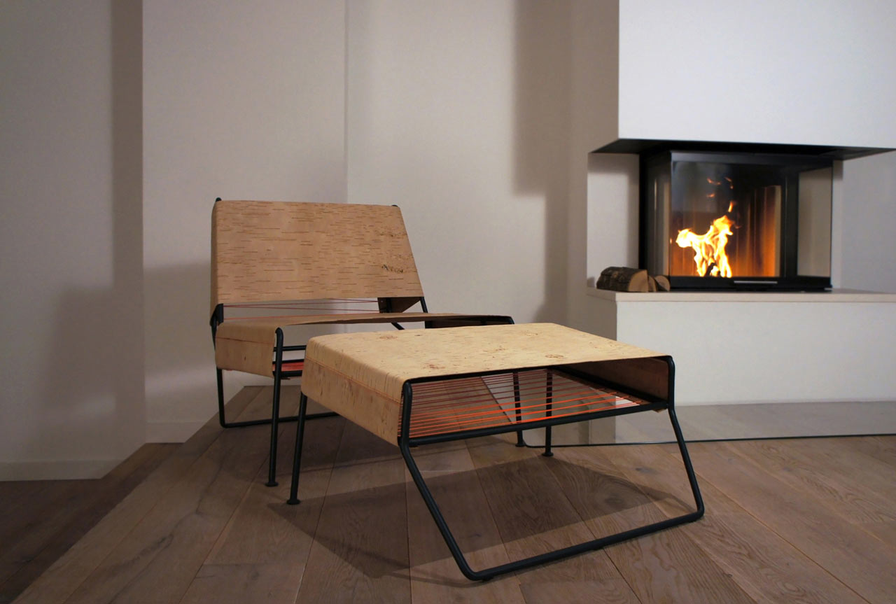 Sibirjak Lounge Chair And Ottoman Made From Birchbark
