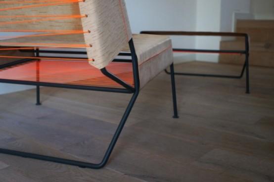Sibirjak Lounge Chair And Ottoman Made From Birchbark