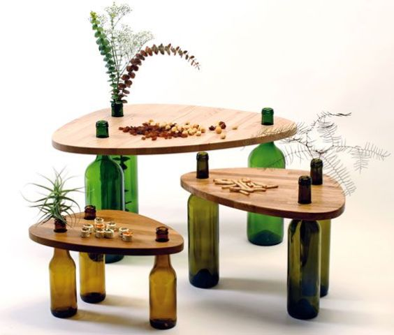 Side Tables Made From Reused Bottles And Wood Tops