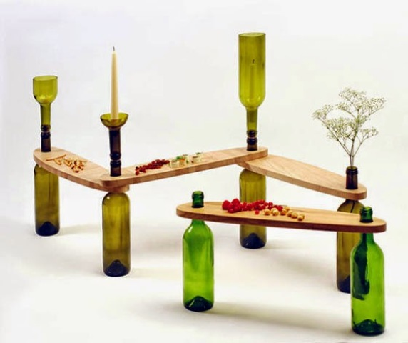 Side Tables From Reused Bottles And Wooden Tops