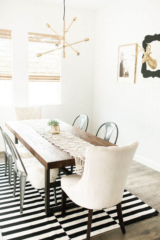 simple Nordic dining area with IKEA's rug