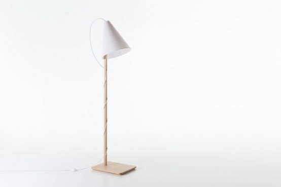 Simple Clarina Floor Lamp With A Solid Beech Base