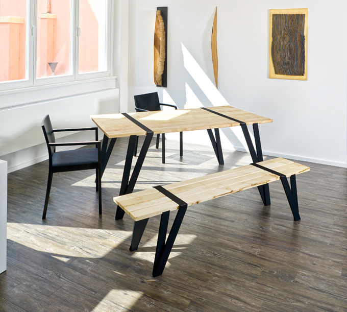 simple dining table and bench by manuel welsky digsdigs
