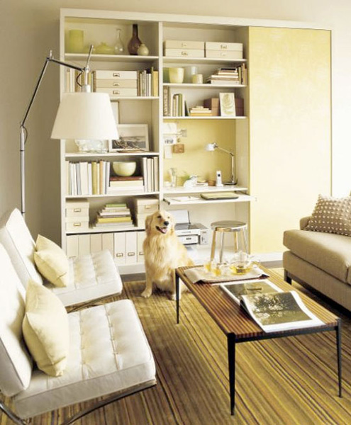 Several bookcases could become your tiny yet functional home office right in the living room. A small desk combined with open and closed storage space are really versatile.