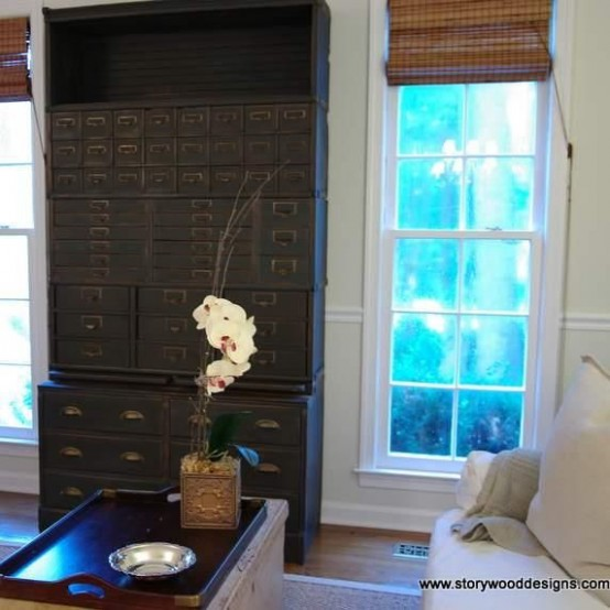 Vintage chests of drawers, cabinets and armories are cool storage additions for living rooms that provide plenty of concealed storage for organizing necessities.