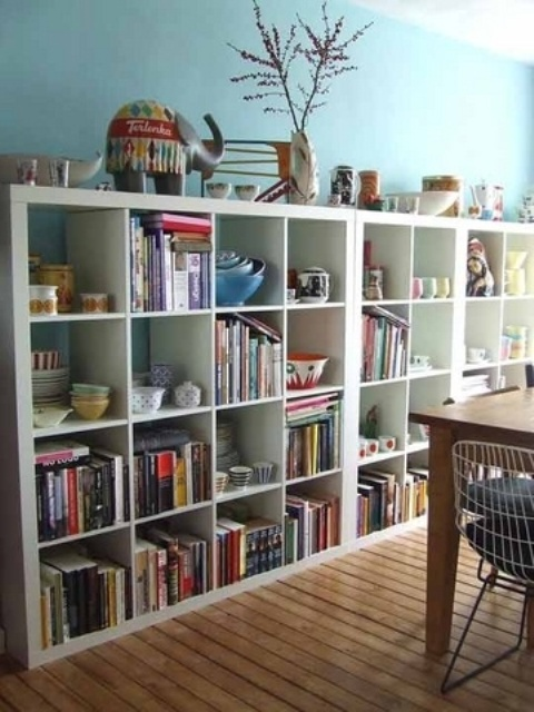 IKEA's Kallax shelf units are probably the most popular storage options for living rooms. They are really cheap and versatile