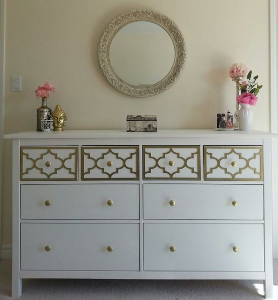 This simple hack is an easy way to personlize the dresser to fit your interior.