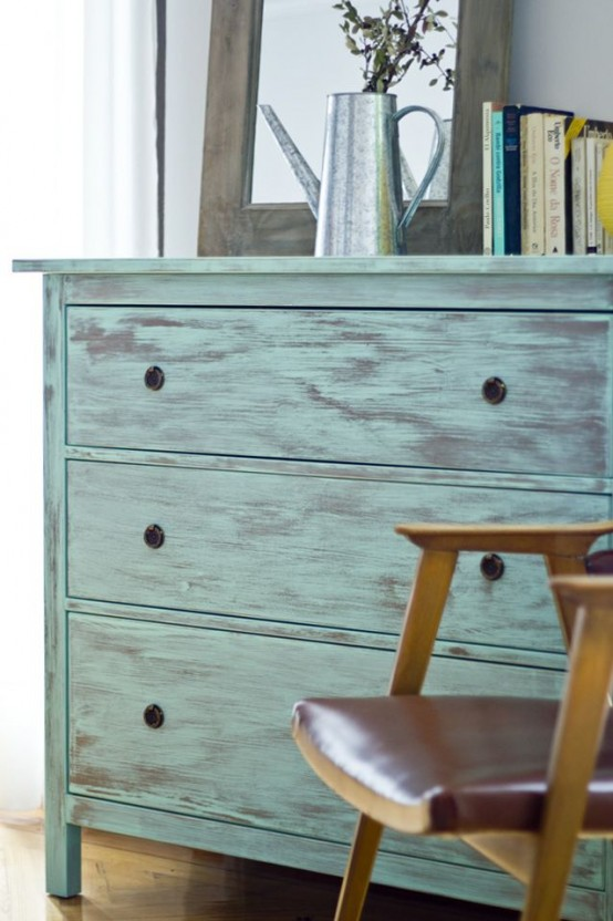 If you like shabby chic style simply repaint the whole dresser. It doesn't have any glossy lacquer finish so painting it won't be hard.
