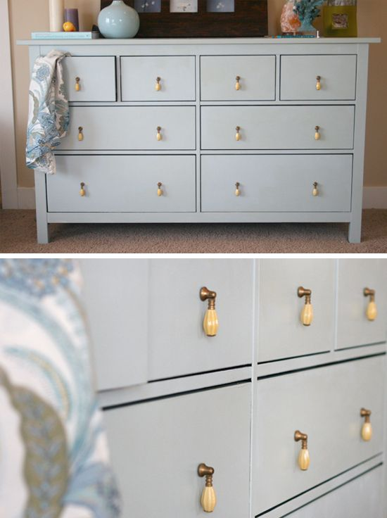 Changing knobs to vintage ones is a quick and cute upgrade of the dresser.