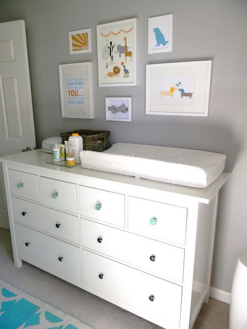 Hemnes dresser provide lots of storage for diapers, bottles and oils.
