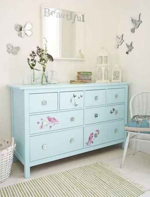 Decals is another super simple hack to add some cuteness to a boring dresser's look.