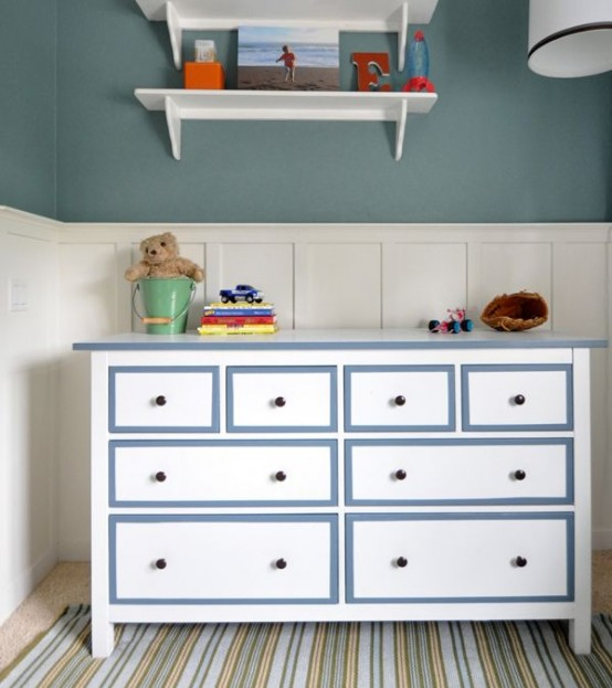With some blue paint you can add some style to a plain white Hemnes dresser so it would fit a boy's room