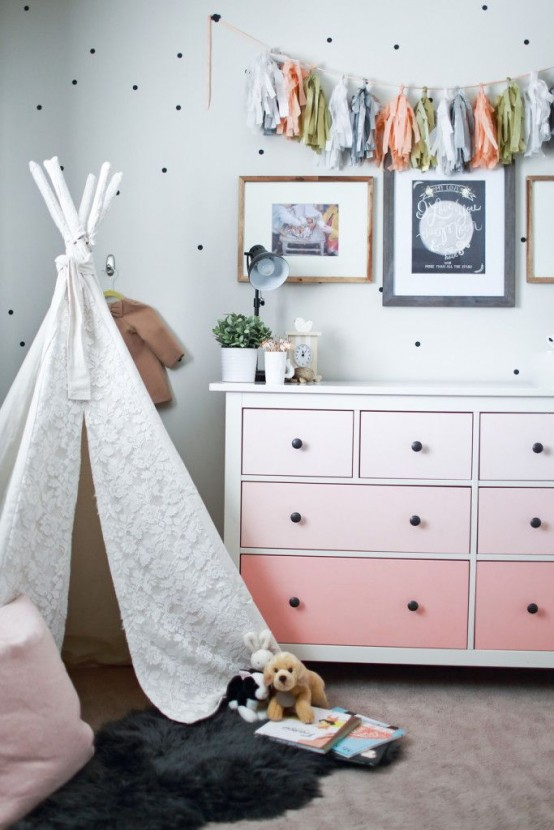 Ombre is quite popular nowadays so paint dresser's drawers into different shades of pink to make it a stylish addition to a girl's playroom.