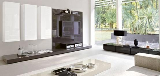 Sistema Concept By Doimo Design 06 Bianco And Marrone Grigio Glossy Lacquered