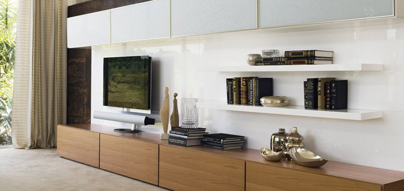 Sistema Concept By Doimo Design 09 Noce And Bianco Glossy Lacquered