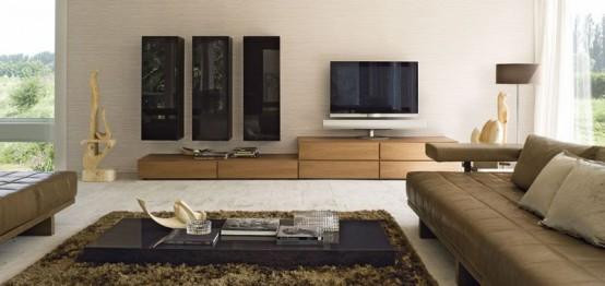 Sistema Concept By Doimo Design 12 Noce And Marrone Grigio Glossy Lacquered