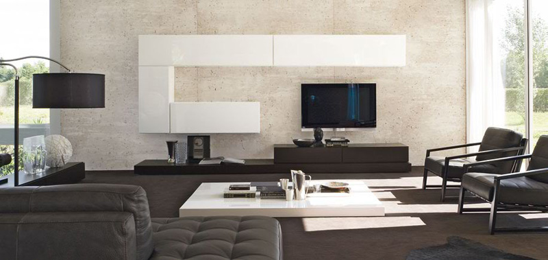Sistema Concept By Doimo Design 19 Rovere Moka And Bianco Glossy Lacquered