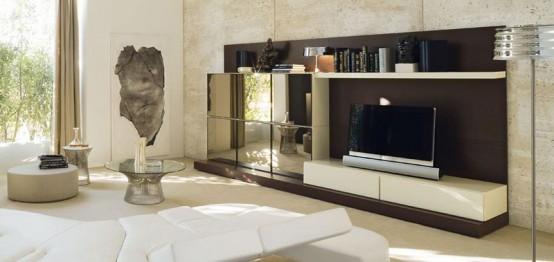 Sistema Concept By Doimo Design 20 Rovere Moka And Bianco Perla Glossy Lacquered