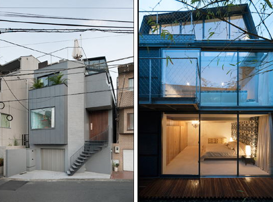 Japanese townhouse with an outdoor deck on the roof and a for Small japanese house design in tokyo by architect yasuhiro yamashita