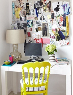 Decorating small and pretty home office isn't that hard. A cute chair could be an only thing  you need.