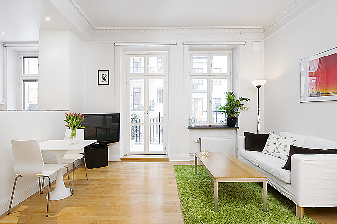 Small and thoughtful swedish apartment interior design Interior design for small living room