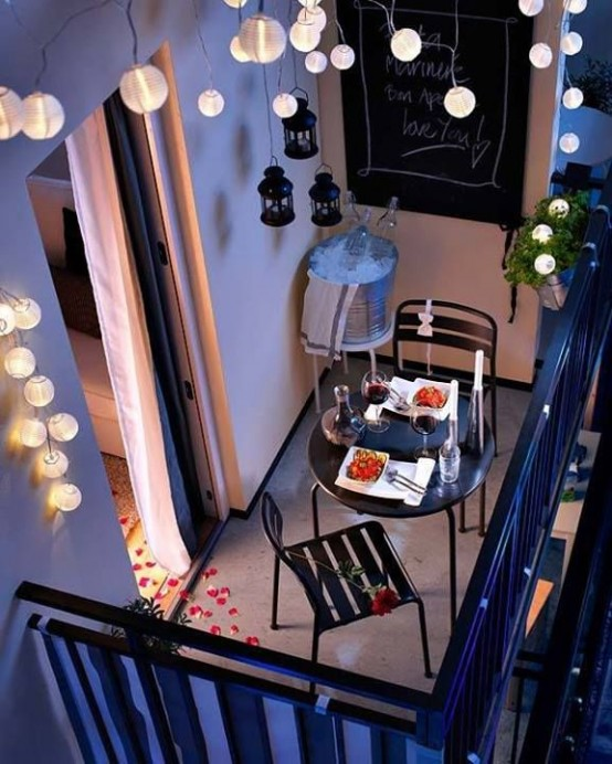 String lights and lanterns could easily set a great mood for a romantic dinner.