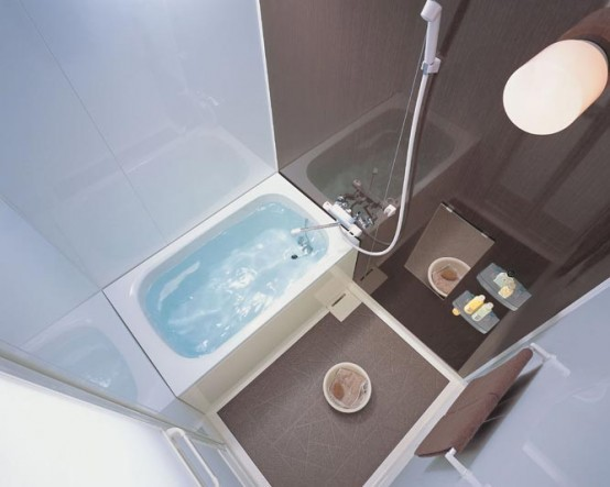 Compact and small bathroom layouts from inax digsdigs for Small square bathroom designs