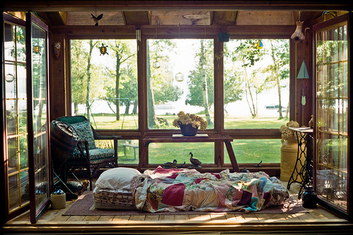 Small bohemian sunroom where owners could sleep durning hot summer days.