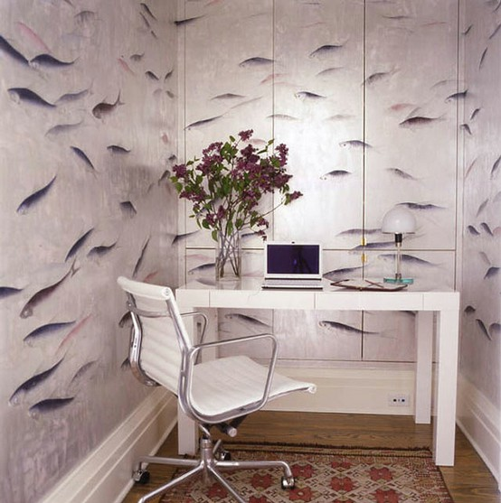 A hilarious wallpaper could make even a small office cool.