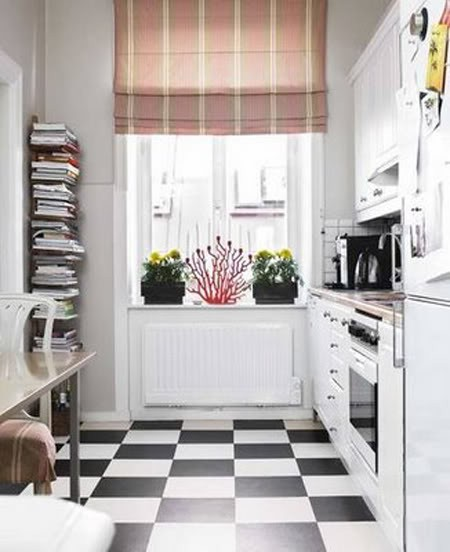 Small Kitchen With Checkers Floors