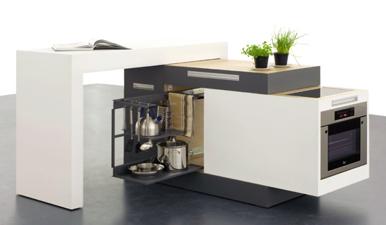 10 compact kitchen designs for very small spaces digsdigs for Smart kitchen design small space