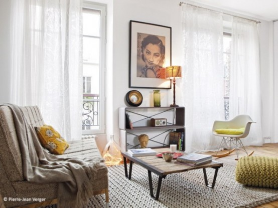 Small Parisian Loft With Colorful Touches And Unique Details
