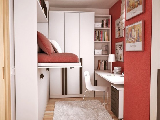 An interesting layout idea for a small teen bedroom. The bed could be hidden when not used.