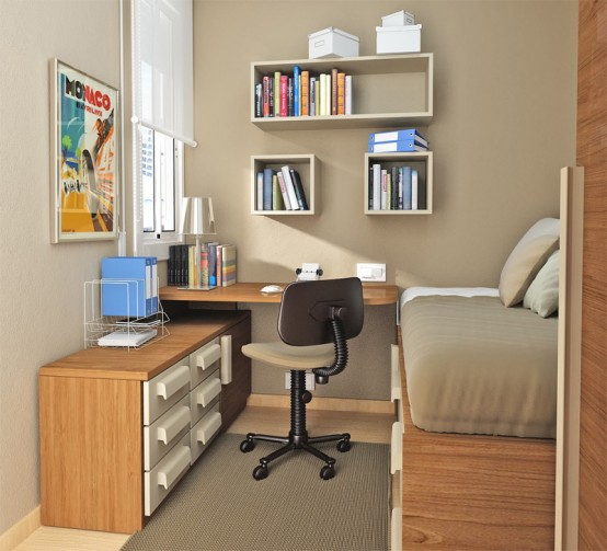 55 Thoughtful Teenage Bedroom Layouts - DigsDigs on Small Teen Bedroom  id=65062