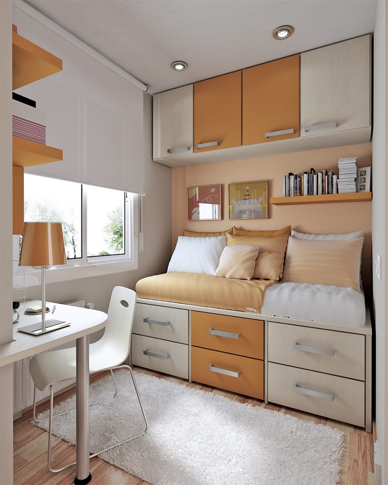 50 thoughtful teenage bedroom layouts digsdigs for Cool beds for small bedrooms
