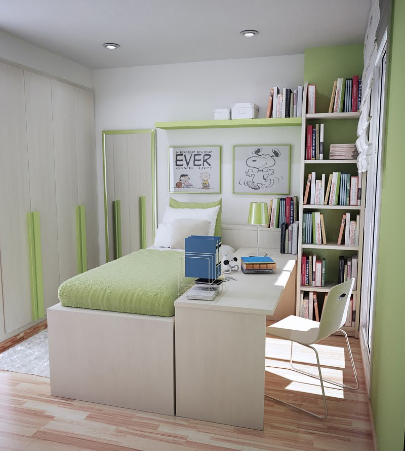 50 thoughtful teenage bedroom layouts digsdigs for Small space apartment ideas