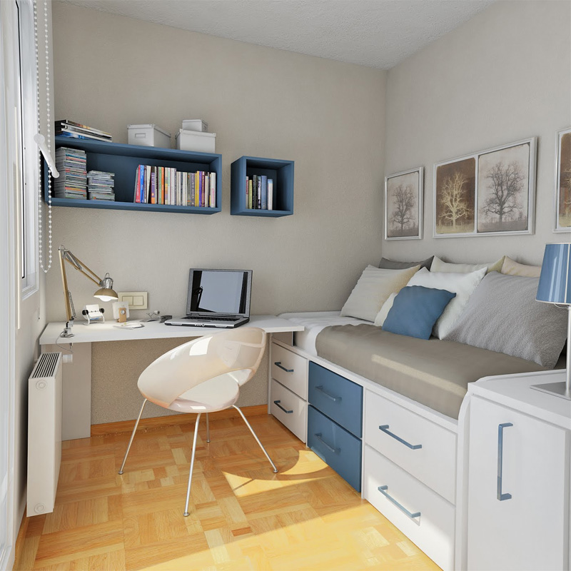 50 thoughtful teenage bedroom layouts digsdigs for Small apartment layout ideas