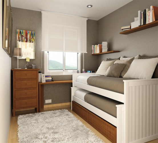 Daybed that could be transformed into two sleeping beds is perfect for a  small shared bedroom