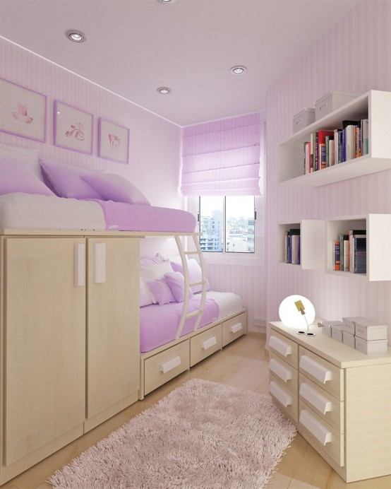 charming Teenage Small Bedroom Part - 11: Good layout for a shared triangle-shaped room.